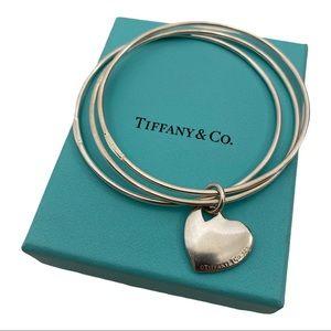 Tiffany & Co Triple Bangle Set with Heart Charm